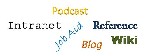 Intranet, Job Aid, Podcast, Blog, Reference Materials, Wiki