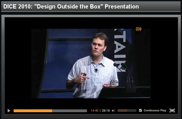 "DICE 2010: ""Design Outside the Box"" Presentation"