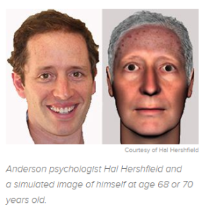 Image of the scientist and his artificially aged self
