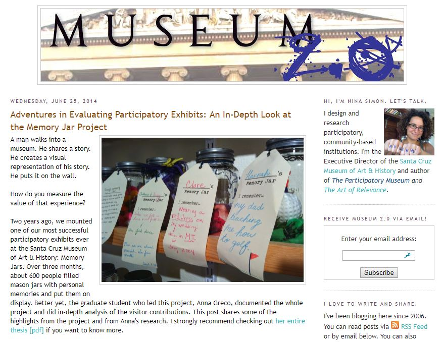 Screen Cap from Nina Simon's Blog at https://museumtwo.blogspot.com