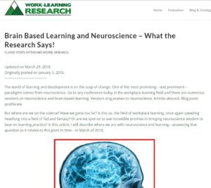 Will Thalheimer's Post on Brain-based Learning
