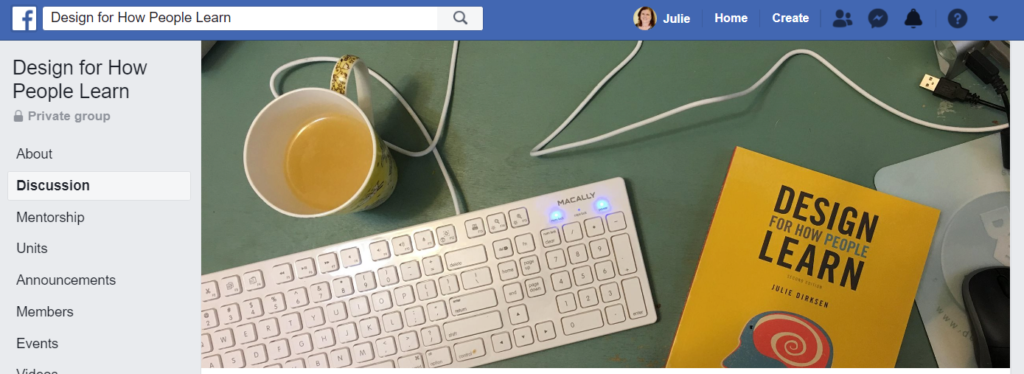 Header Image and Link to the Design For How People Learn Facebook Group