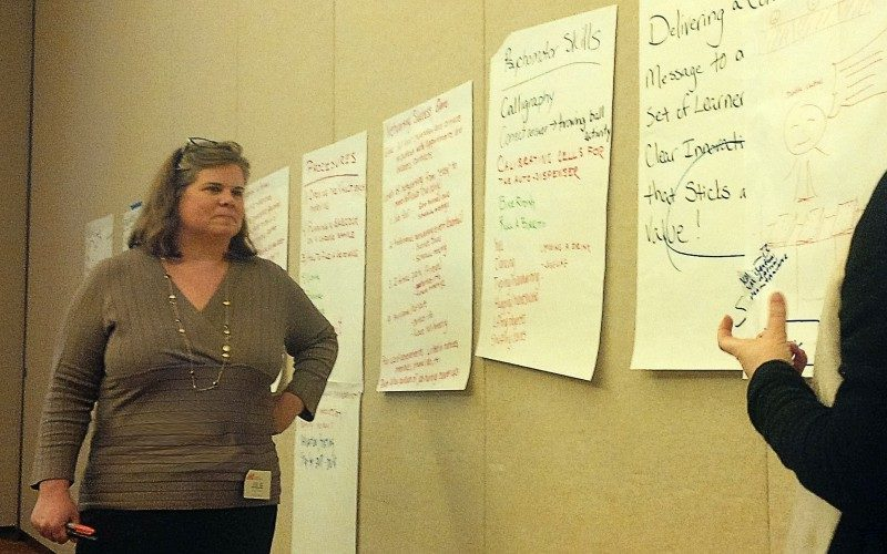 Julie facilitating a workshop with flip charts on the wall.